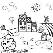 Farm black and white landscape