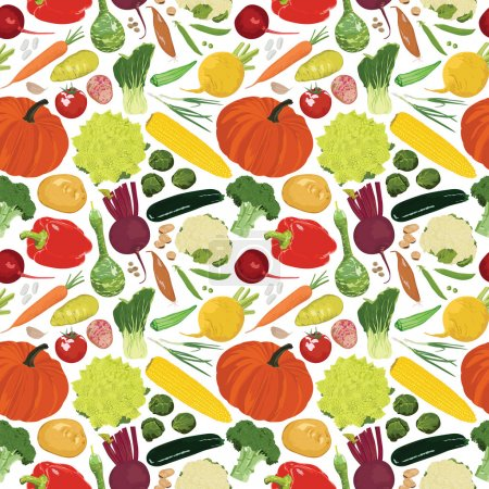Seamless background with a variety of vegetables