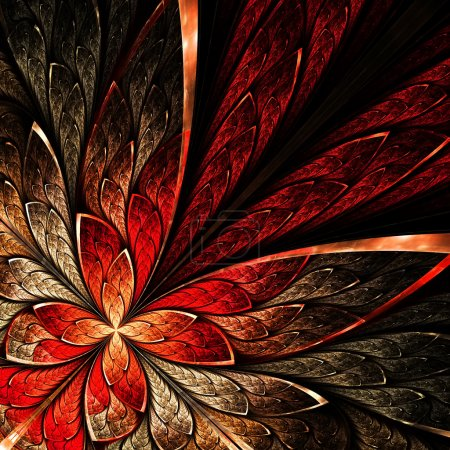 kwiat piękny fraktal w żółty i czerwony.