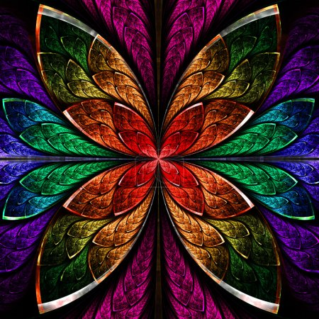 Beautiful fractal flower in blue, green and red. Computer genera