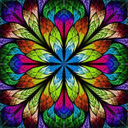 Foto de Flor multicolor fractal hermoso. gráficos generados por computadora. - Imagen libre de derechos