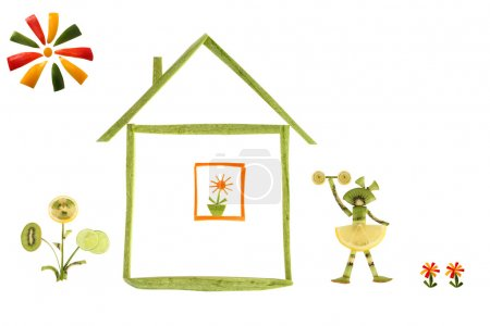 Healthy eating. House and funny little people made ??of vegetabl