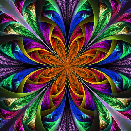 Beautiful multicolor fractal flower. Computer generated graphics