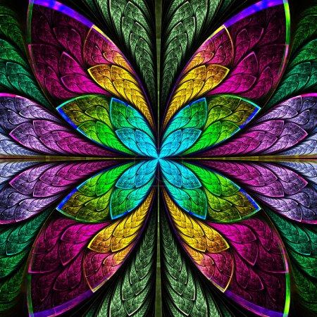 Foto de Flor simétrica fractal multicolor estilo vidrieras. gráficos generados por computadora. - Imagen libre de derechos