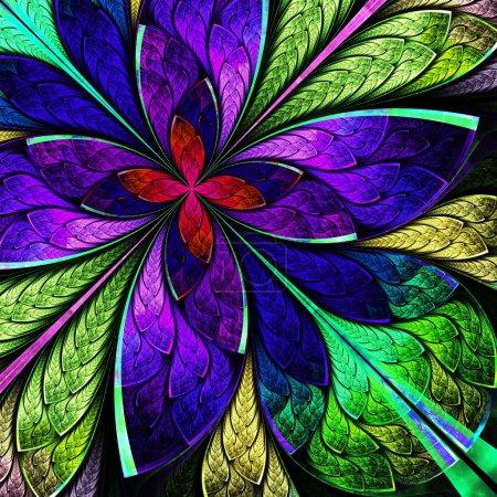 Foto de Flor hermosa fractal multicolor en estilo de ventana de vidrio. gráficos generados por computadora. - Imagen libre de derechos