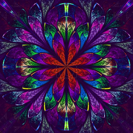 Multicolor beautiful fractal in stained glass window style.