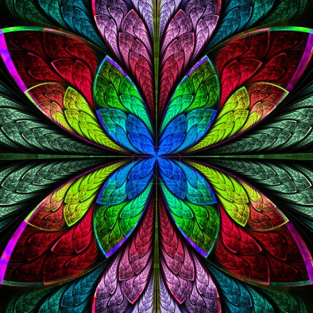 Symmetrical multicolor fractal flower in stained glass style. Co