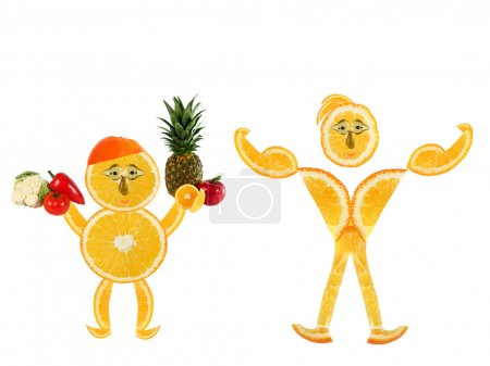 Healthy eating.Two funny little oranges  made of t...
