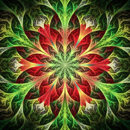 Hermosa flor fractal en rojo y verde. Ordenador generado gr
