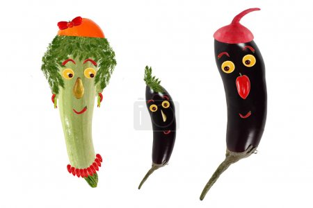 Funny portrait made ??of zucchini,  eggplants  and fruits