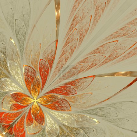 Beautiful fractal flower in yellow, gray and red. Computer gener