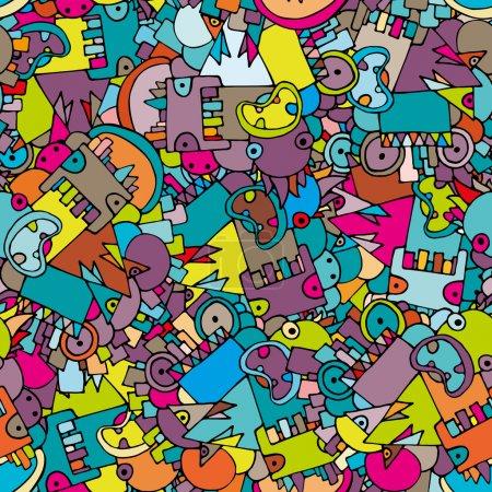 Illustration pour Fond géométrique abstrait lumineux sans couture avec des monstres, vecteur - image libre de droit