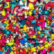 Seamless bright abstract geometric background with monsters, vector
