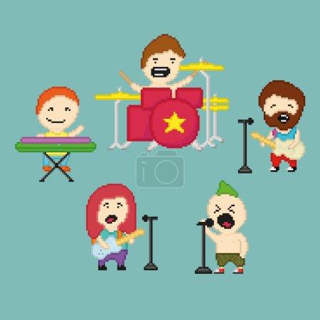 Illustration pour Ensemble d'icônes sur le thème du groupe de rock dans le style pixel art, illustration vectorielle - image libre de droit