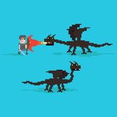 Pixel Dragons and warrior