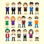 Set of different pixel people, vector illustration...