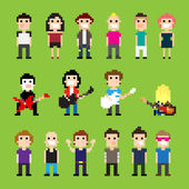 Pixel art guitar players and people
