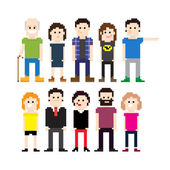 Set of pixel art people icons vector illustration