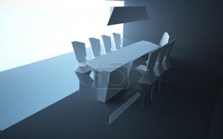 Abstract architectural interior dining. Dining room is up to date style with the use of composite materials.
