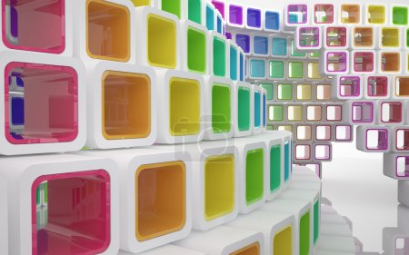 Conceptual modern building made of colored glass cubes