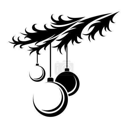 Photo pour Silhouette noire de branche de sapin avec trois boules de Noel. - image libre de droit