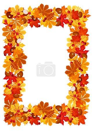 Autumn leaves frame. Vector illustration.