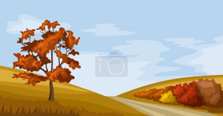 Illustration for Vector illustration of autumn landscape with hills, tree, bushes, road and sky with clouds. - Royalty Free Image