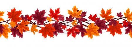 Illustration pour Vecteur horizontal fond sans couture avec des feuilles d'érable d'automne de différentes couleurs sur un fond blanc . - image libre de droit
