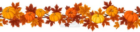 Illustration for Vector horizontal seamless background with pumpkins and autumn maple leaves of various colors on a white background. - Royalty Free Image