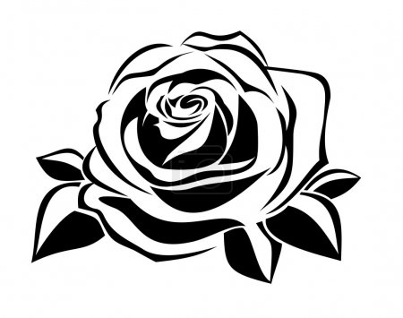 Illustration pour Illustration vectorielle de la silhouette noire de rose avec des feuilles sur fond blanc . - image libre de droit