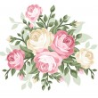 Vector illustration of pink and white vintage rose...
