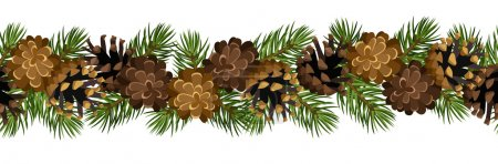 Vector horizontal seamless background with fir tree branches and cones.
