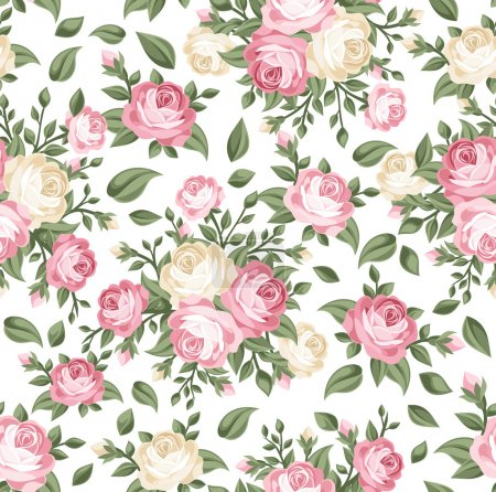 Illustration for Vector seamless pattern with pink and white roses, buds and leaves on a white background. - Royalty Free Image