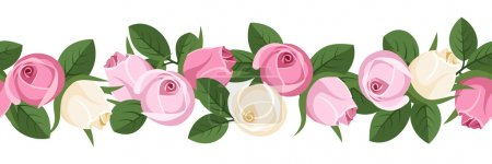 Illustration for Vector illustration of horizontal seamless background with pink and white rose buds and green leaves on white. - Royalty Free Image