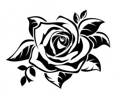 Illustration for Vector illustration of black silhouette of rose with leaves on a white background. - Royalty Free Image
