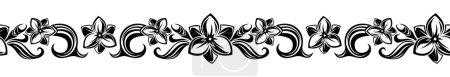 Illustration pour Illustration vectorielle de vignette horizontale sans couture noire avec fleurs . - image libre de droit