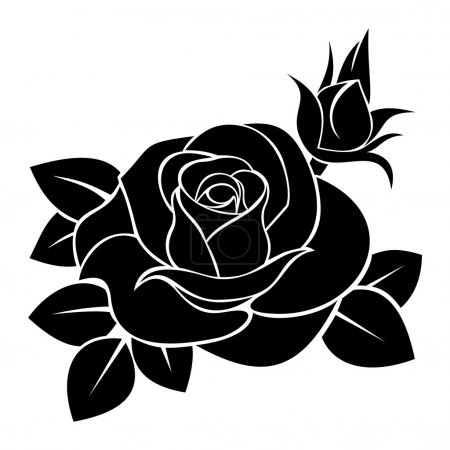 Illustration for Vector illustration of black silhouette of rose with rosebud and leaves on a white background. - Royalty Free Image