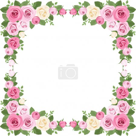 Vintage roses frame. Vector illustration.