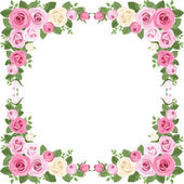Vector illustration of vintage frame with pink and white roses rose buds and green leaves on a white background