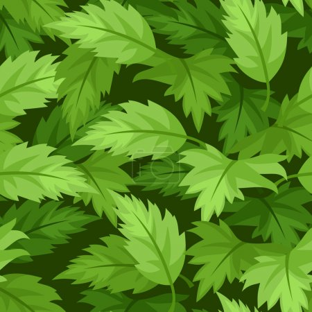 Illustration for Vector illustration of seamless background with green leaves. - Royalty Free Image