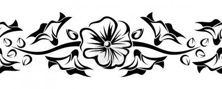 Illustration pour Illustration vectorielle d'un motif sans couture avec des fleurs blanches, bleues et vertes sur fond blanc . - image libre de droit