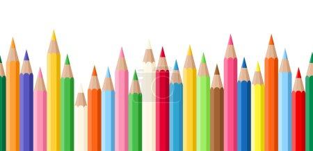 Illustration pour Fond horizontal sans couture vectoriel avec crayons de différentes couleurs . - image libre de droit