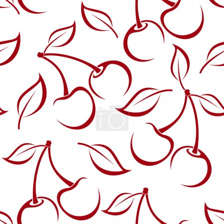 Seamless background with cherry silhouettes. Vector illustration.