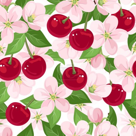 Illustration for Vector seamless pattern with red cherry berries, pink flowers and green leaves on a white background. - Royalty Free Image