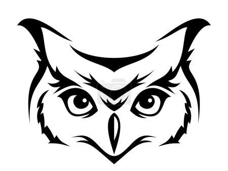 Illustration pour Silhouette noire de tête de hibou cornu. Illustration vectorielle . - image libre de droit