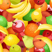 Seamless background with various fruits Vector illustration