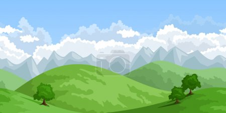 Illustration for Vector illustration of horizontal seamless summer landscape with green hills, trees and sky with cumulus clouds. - Royalty Free Image
