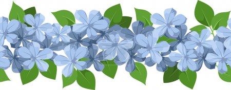 Illustration pour Illustration vectorielle de l'arrière-plan horizontal sans couture avec des fleurs bleues et des feuilles vertes sur fond blanc . - image libre de droit