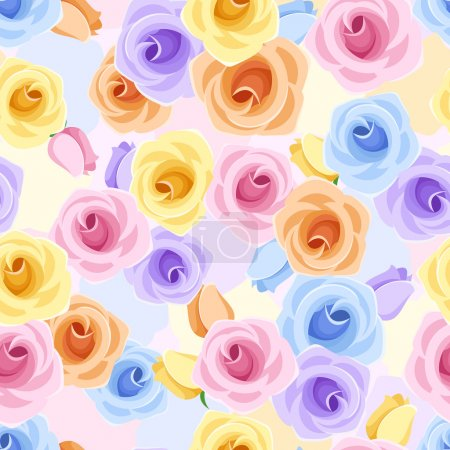 Illustration for Vector seamless pattern with pink, orange, yellow, blue and purple roses and buds. - Royalty Free Image