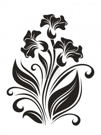Illustration for Vector illustration of vintage flowers ornament on a white background. - Royalty Free Image